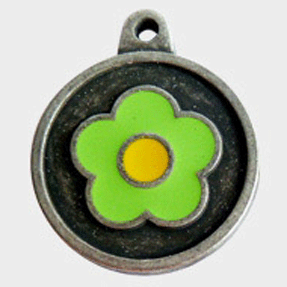 Hotdogs Daisy Green ID Tag with Engraving - Silver - Small