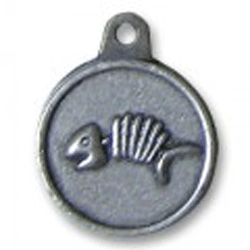 Hotdogs Fishbone ID Tag with Engraving - Silver - Small