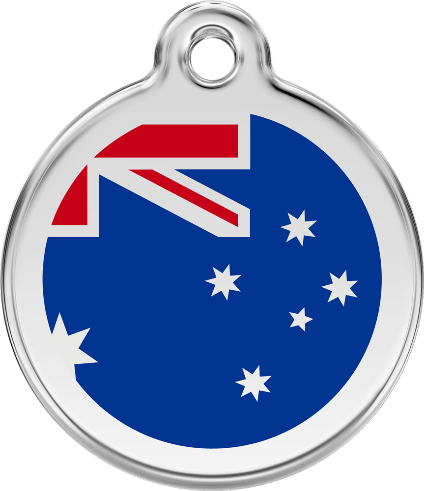 Red Dingo Stainless Steel Enameled Engraved ID Tag - Flag Australia - Small - Red and Blue