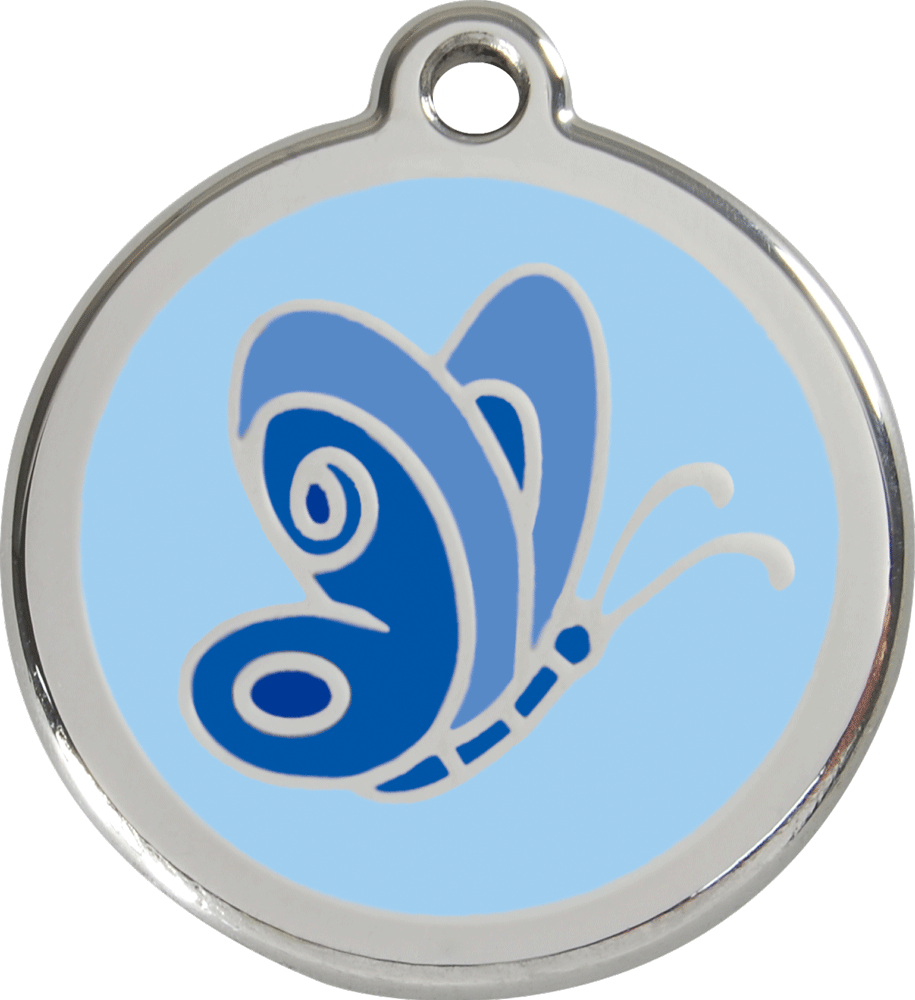 Red Dingo Stainless Steel Enameled Engraved ID Tag - Butterfly Blue - Small - Blue