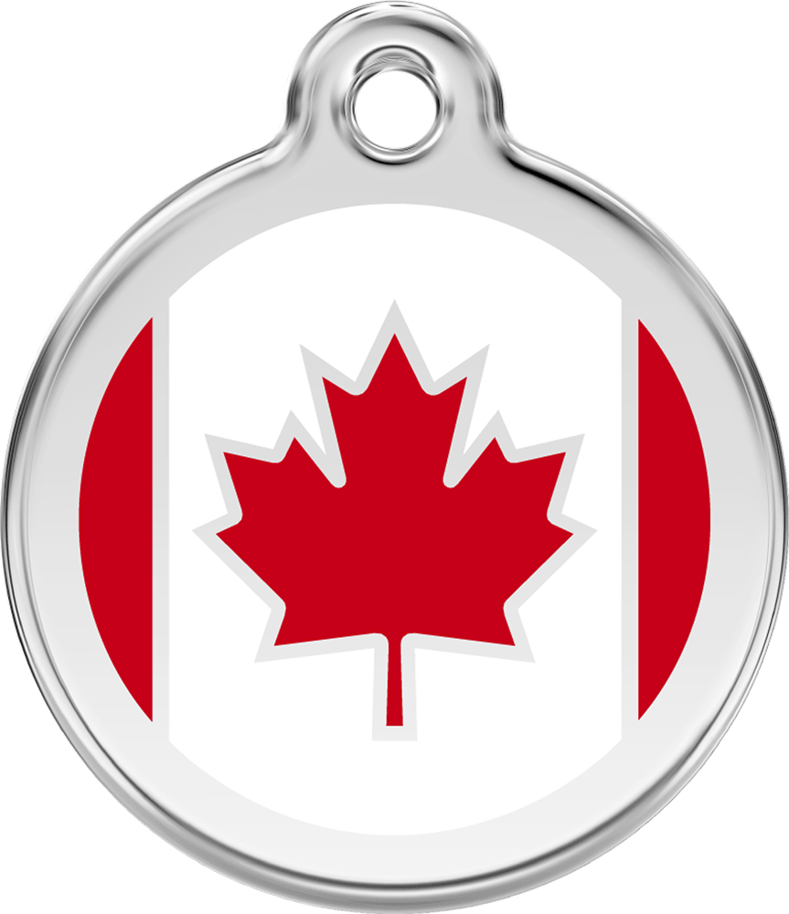 Red Dingo Stainless Steel Enameled Engraved ID Tag - Flag Canada - Medium - Red and White