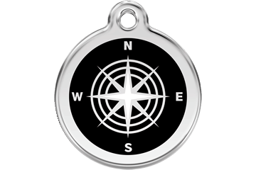Red Dingo Stainless Steel Enameled Engraved ID Tag - Compass - Small - Black