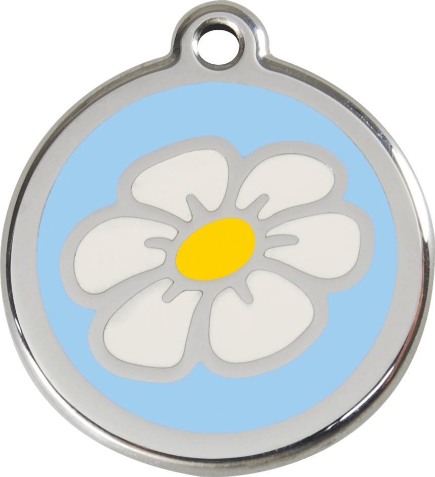 Red Dingo Stainless Steel Enameled Engraved ID Tag - Daisy - Large - Pick a Color