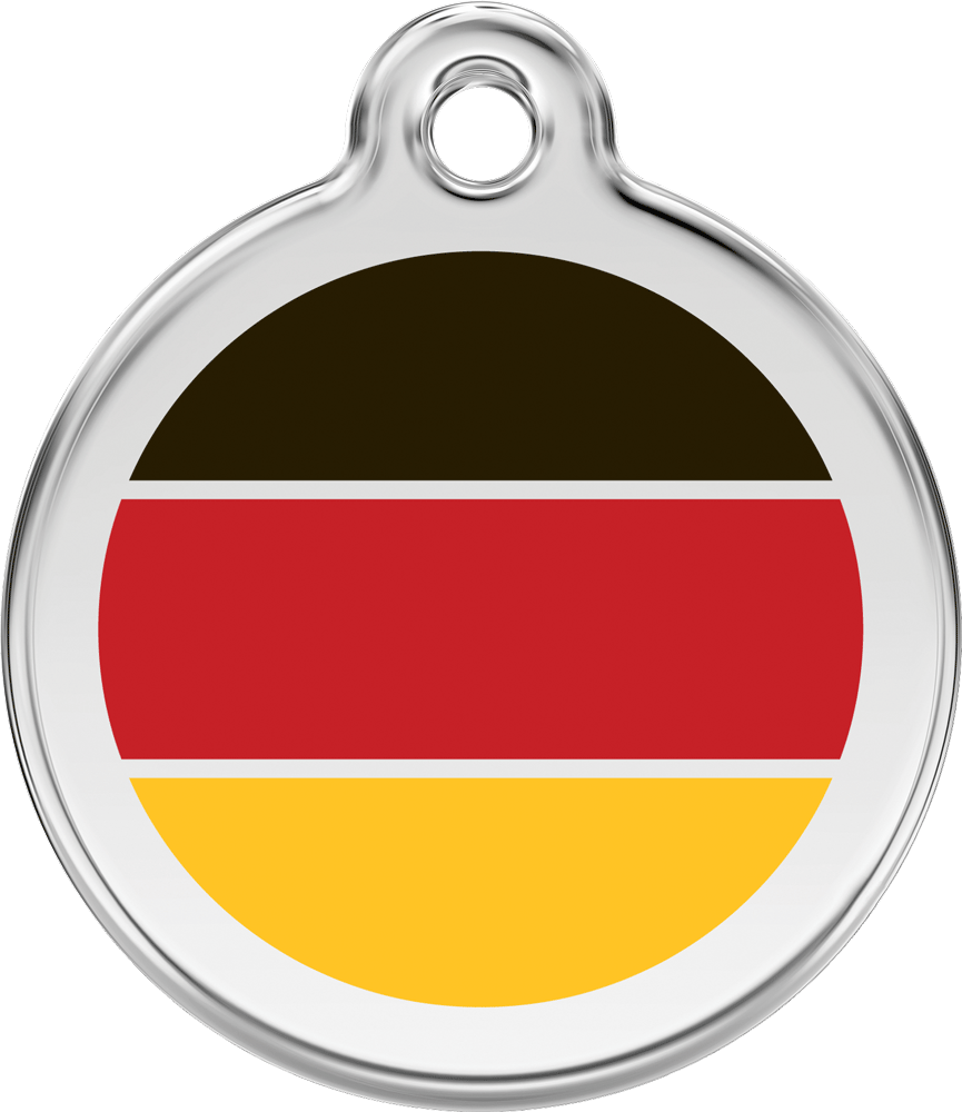 Red Dingo Stainless Steel Enameled Engraved ID Tag - Flag German - Large - Black Red Yellow