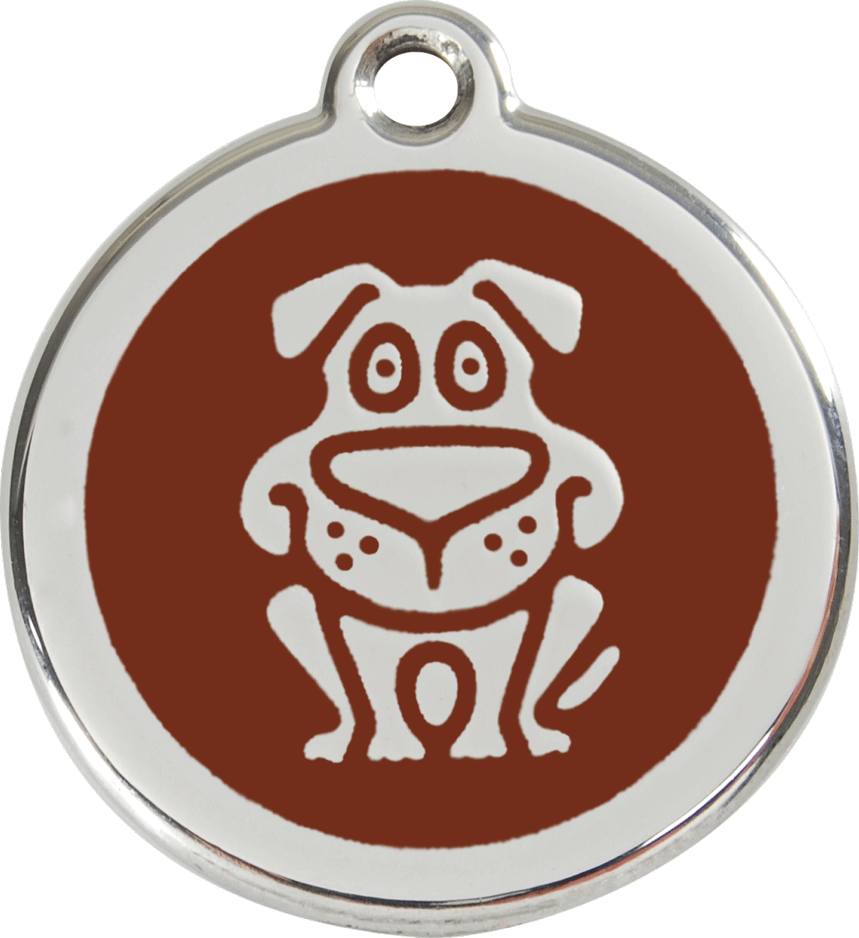 Red Dingo Stainless Steel Enameled Engraved ID Tag - Dog - Medium - Pick a Color