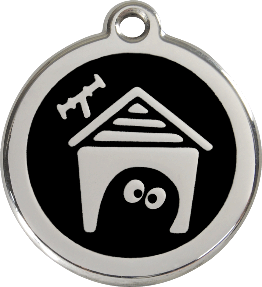 Red Dingo Stainless Steel Enameled Engraved ID Tag - Dog House - Large - Pick a Color