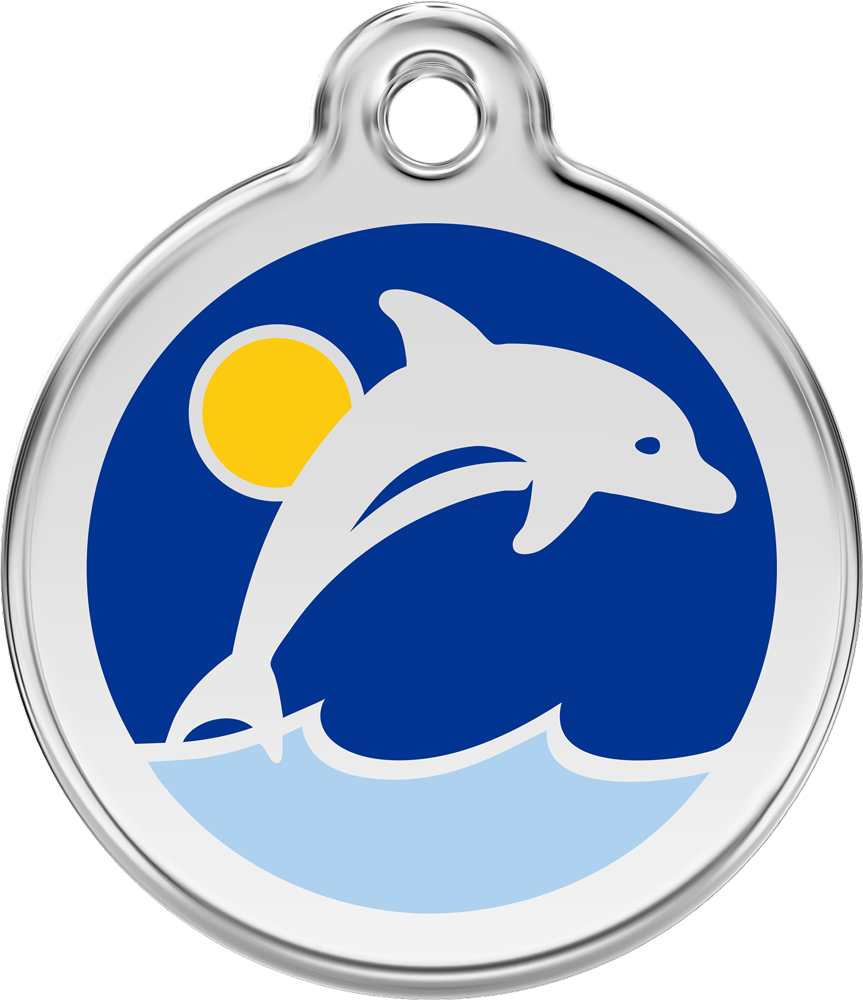Red Dingo Stainless Steel Enameled Engraved ID Tag - Dolphin - Medium - Dark Blue