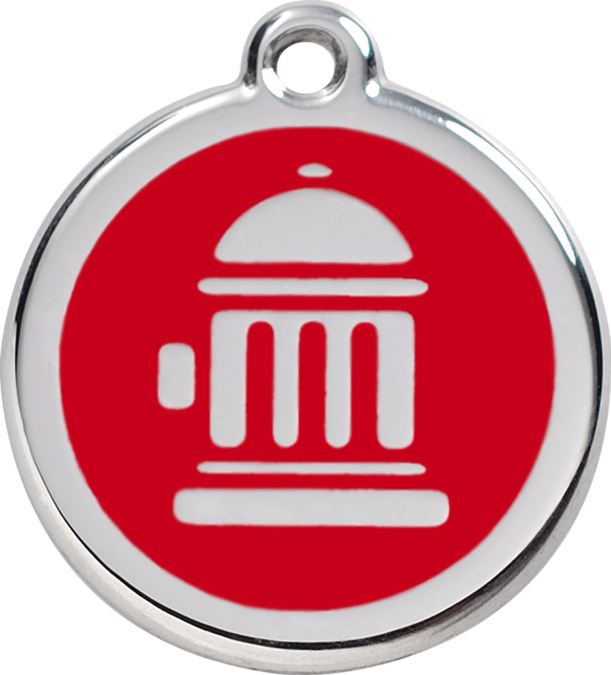 Red Dingo Stainless Steel Enameled Engraved ID Tag - Fire Hydrant - Small - Pick a Color