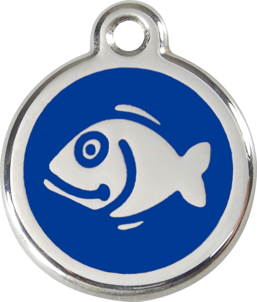 Red Dingo Stainless Steel Enameled Engraved ID Tag - Fish - Small - Pick a Color