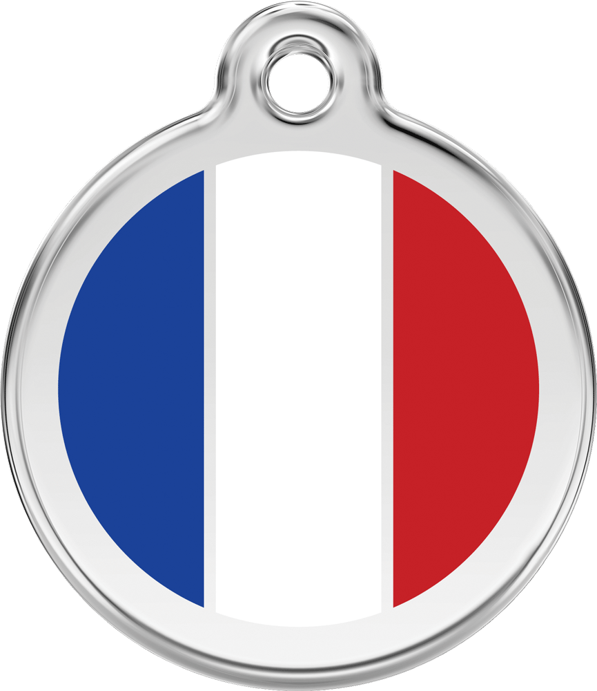 Red Dingo Stainless Steel Enameled Engraved ID Tag - Flag France - Medium - Blue White Red