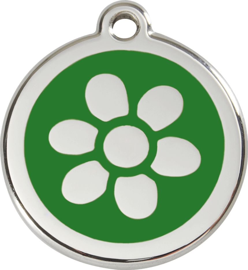 Red Dingo Stainless Steel Enameled Engraved ID Tag - Flower - Medium - Pick a Color