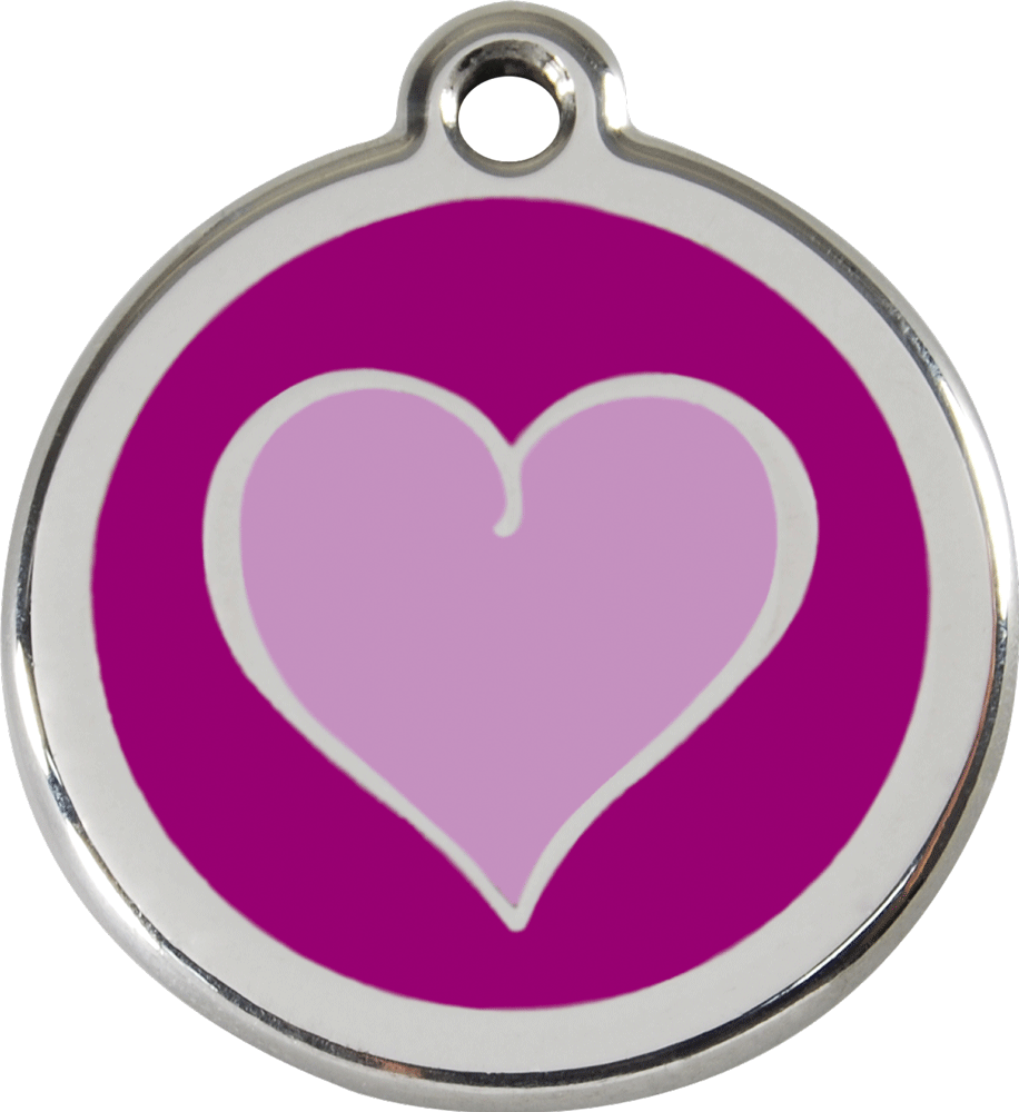 Red Dingo Stainless Steel Enameled Engraved ID Tag - Heart Purple - Small - Purple