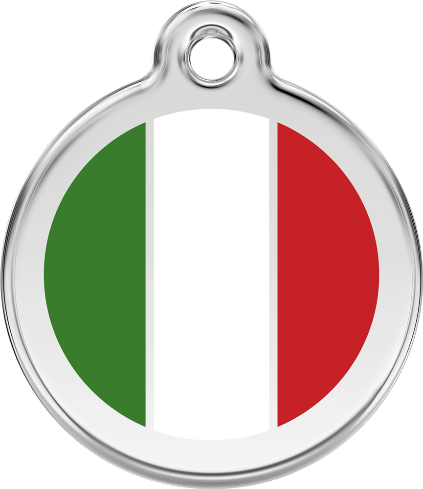 Red Dingo Stainless Steel Enameled Engraved ID Tag - Flag Italy - Medium - Green White Red
