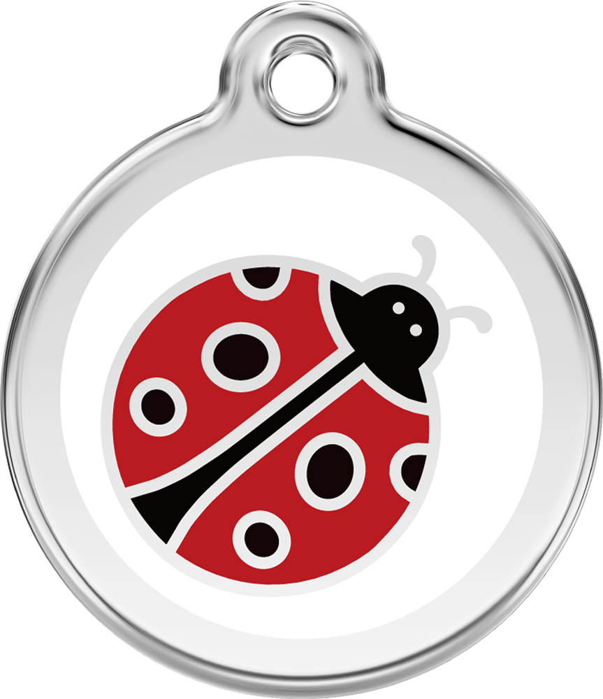 Red Dingo Stainless Steel Enameled Engraved ID Tag - Lady Bug - Small - Red Black White