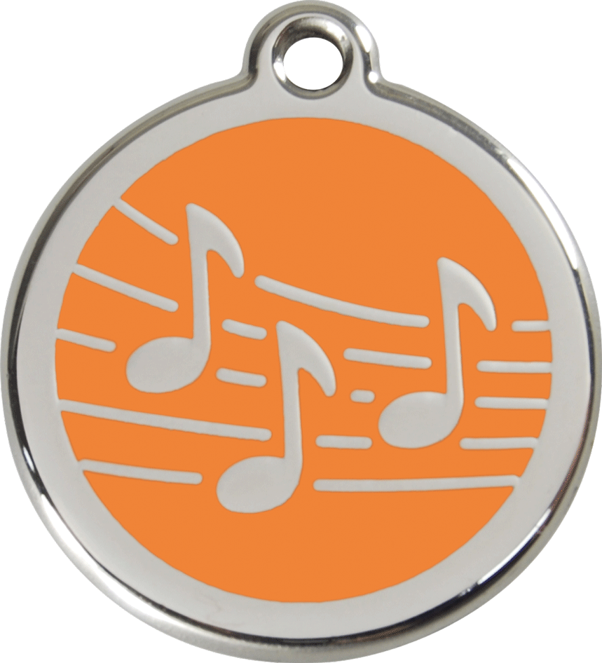 Red Dingo Stainless Steel Enameled Engraved ID Tag - Music - Medium - Pick a Color