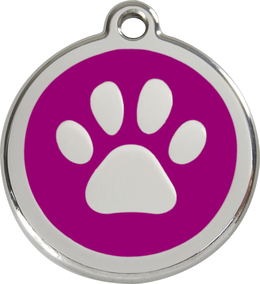 Red Dingo Stainless Steel Enameled Engraved ID Tag - Paw Prints - Large - Pick a Color