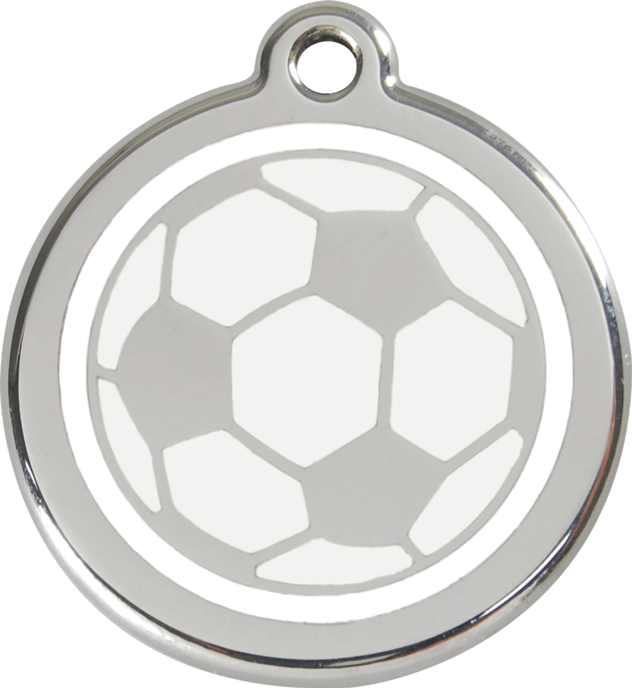 Red Dingo Stainless Steel Enameled Engraved ID Tag - Soccer Ball - Small - White