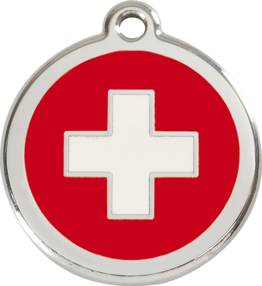 Red Dingo Stainless Steel Enameled Engraved ID Tag - Flag Swiss Cross - Small - Red White