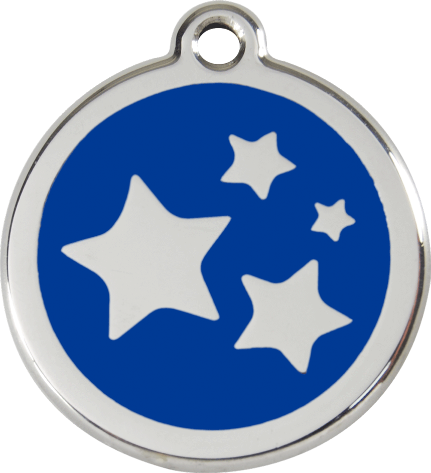 Red Dingo Stainless Steel Enameled Engraved ID Tag - Stars - Large - Pick a Color
