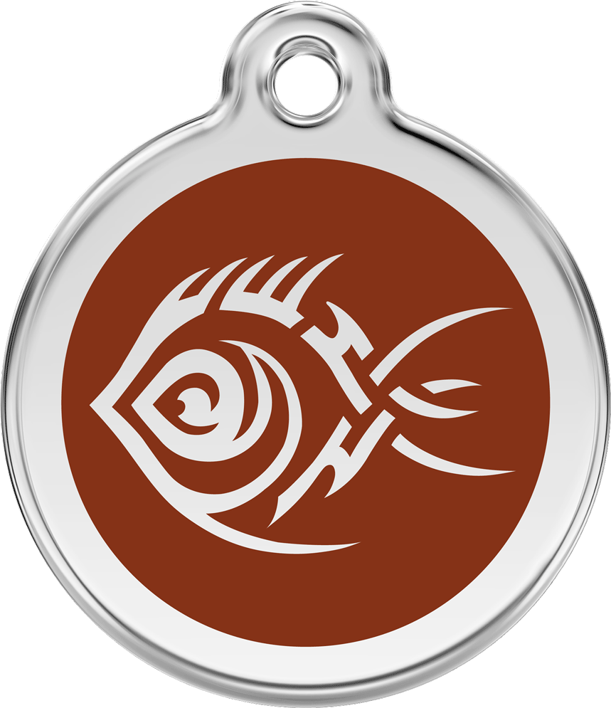 Red Dingo Stainless Steel Enameled Engraved ID Tag - Tribal Fish - Large - Pick a Color