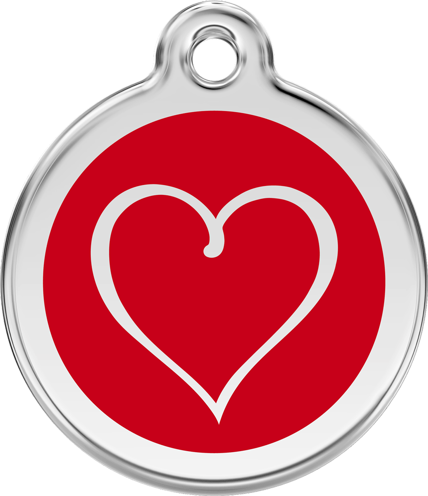 Red Dingo Stainless Steel Enameled Engraved ID Tag - Tribal Heart  - Small - Pick a Color
