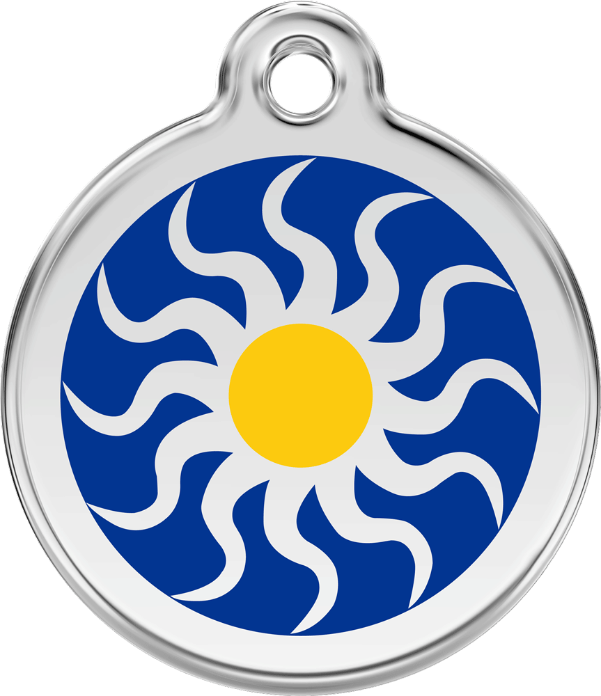Red Dingo Stainless Steel Enameled Engraved ID Tag - Tribal Sun - Small - Blue