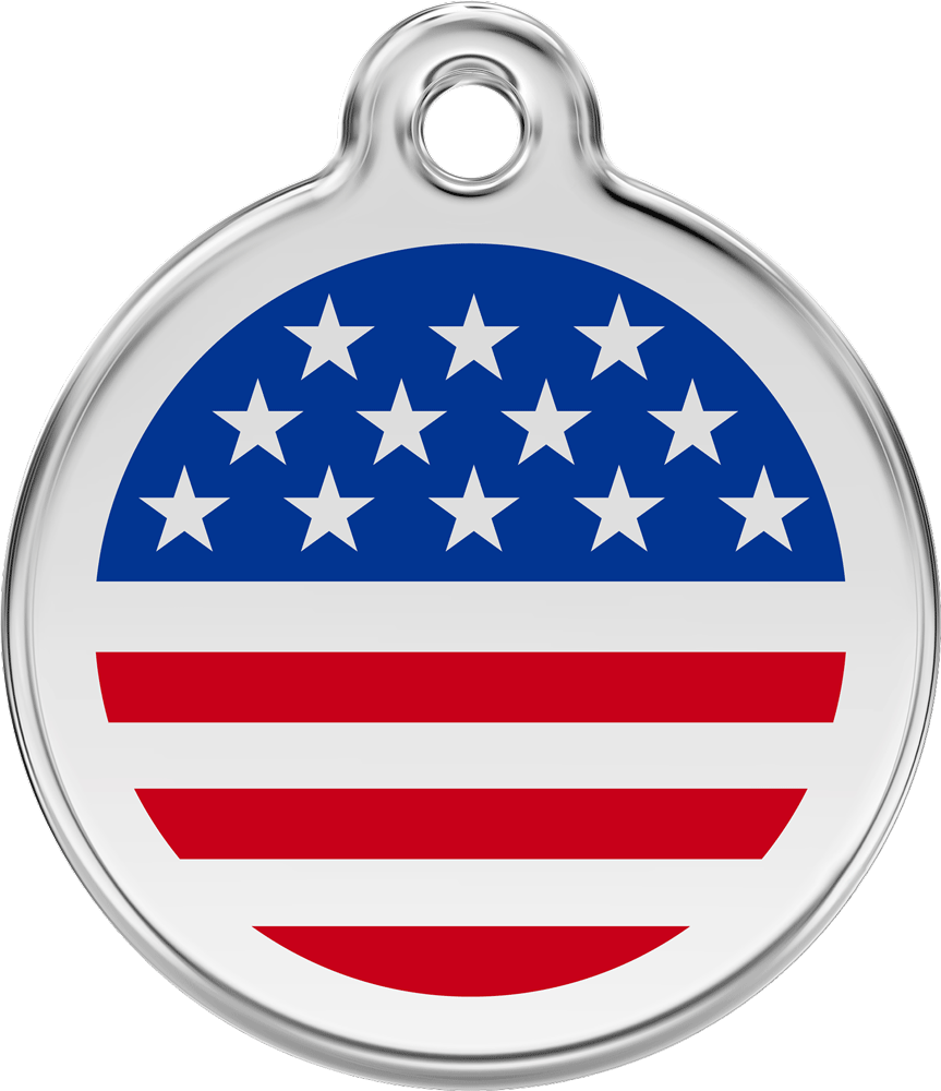 Red Dingo Stainless Steel Enameled Engraved ID Tag - Flag United States - Medium - Red White Blue