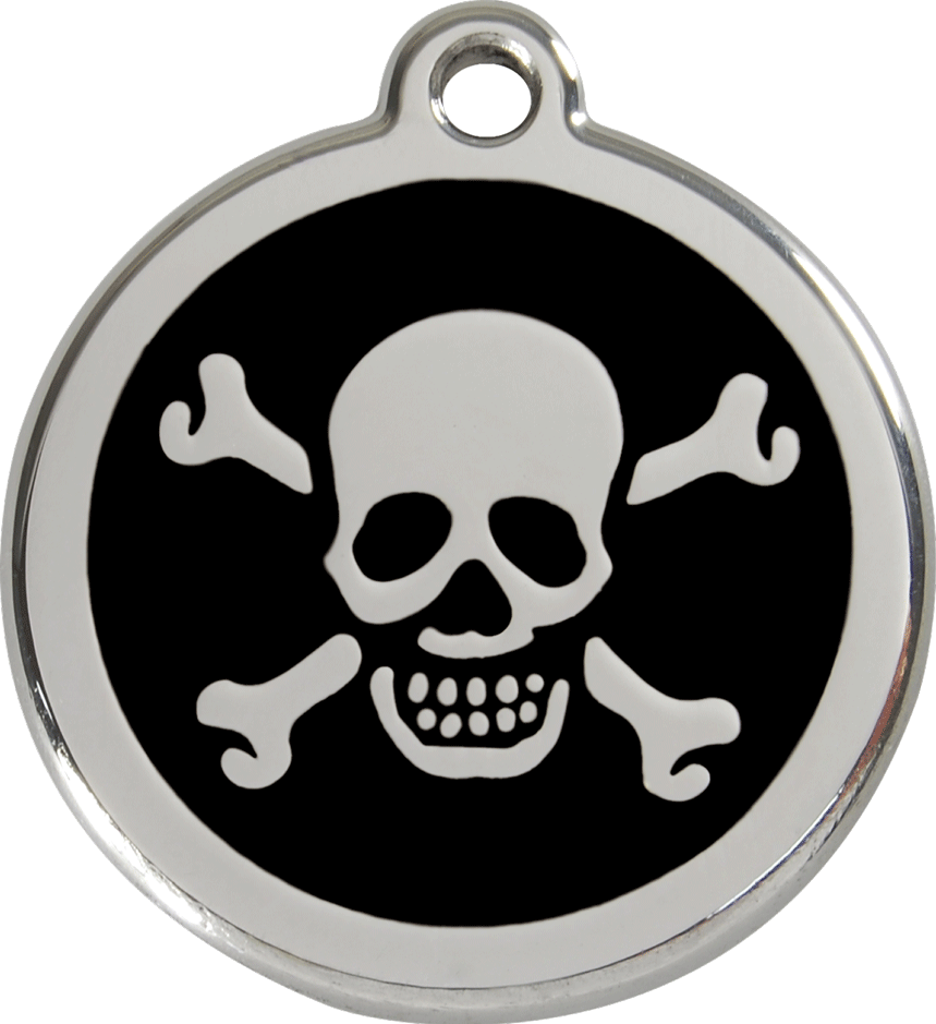 Red Dingo Stainless Steel Enameled Engraved ID Tag - Skull and Crossed Bones - Small - Pick a Color