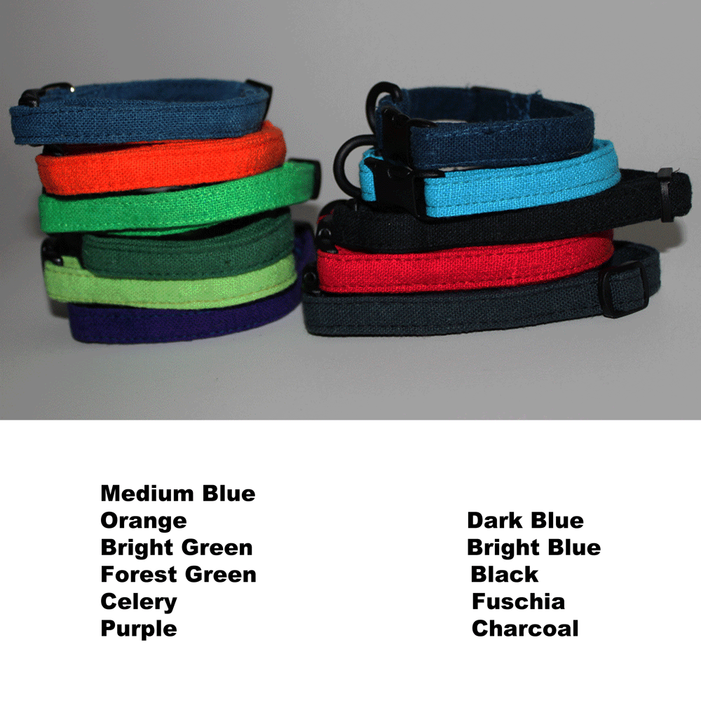 Sleeping Dogs Hemp Dog Collar - Extra Small - Pick a Color