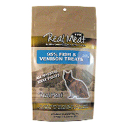 Real Meat Fish and Venison Jerky Treats Bites for Cats - 3 oz