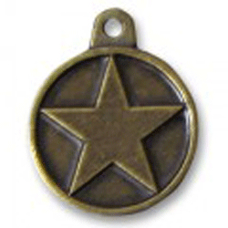 Hotdogs Star ID Tag with Engraving - Brass or Silver - Small