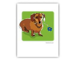 Grrreeting Card Dachshund & Flower