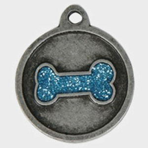 Hotdogs Bone Sparkle Blue ID Tag with Engraving - Silver - Small