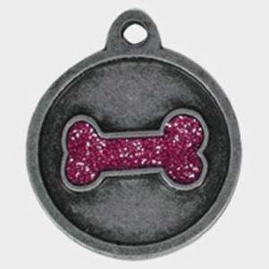 Hotdogs Bone Sparkle Pink ID Tag with Engraving - Silver - Medium