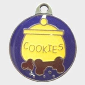 Hotdogs Cookie Jar ID Tag with Engraving - Silver - Medium