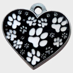 Hotdogs Black and White Heart ID Tag with Engraving - Silver - Large