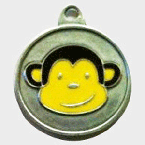 Hotdogs Monkey ID Tag with Engraving - Silver - Small