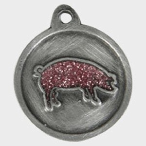 Hotdogs Pig Sparkle Pink ID Tag with Engraving - Silver - Small
