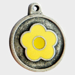 Hotdogs Daisy Yellow ID Tag with Engraving - Silver - Small
