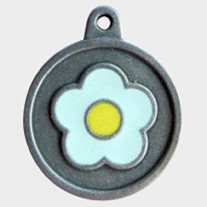 Hotdogs Daisy Blue ID Tag with Engraving - Silver - Large