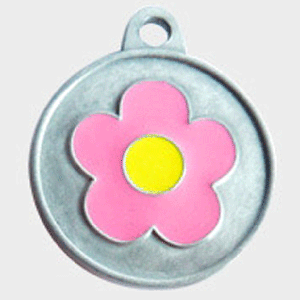 Hotdogs Daisy Pink ID Tag with Engraving - Silver - Medium