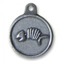 Hotdogs Fishbone ID Tag with Engraving - Brass or Silver - Medium