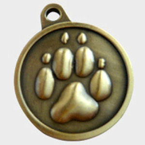 Hotdogs Paw ID Tag with Engraving - Brass or Silver - Large
