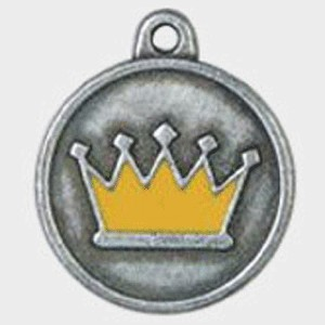 Hotdogs Crown Yellow ID Tag with Engraving - Silver - Small