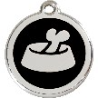 Red Dingo Stainless Steel Enameled Engraved ID Tag - Bone in Bowl - Medium - Pick a Color
