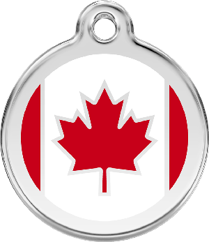 Red Dingo Stainless Steel Enameled Engraved ID Tag - Flag Canada - Large - Red and White