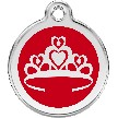 Red Dingo Stainless Steel Enameled Engraved ID Tag - Crown - Large - Pick a Color