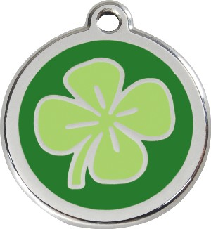 Red Dingo Stainless Steel Enameled Engraved ID Tag - Clover - Small - Green