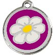 Red Dingo Stainless Steel Enameled Engraved ID Tag - Daisy - Medium - Pick a Color