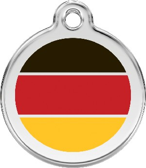 Red Dingo Stainless Steel Enameled Engraved ID Tag - Flag German - Medium - Black Red Yellow